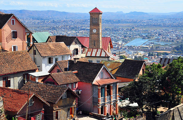 Antananarivo, Madagascar: spire and roofs of the upper town stock photo
