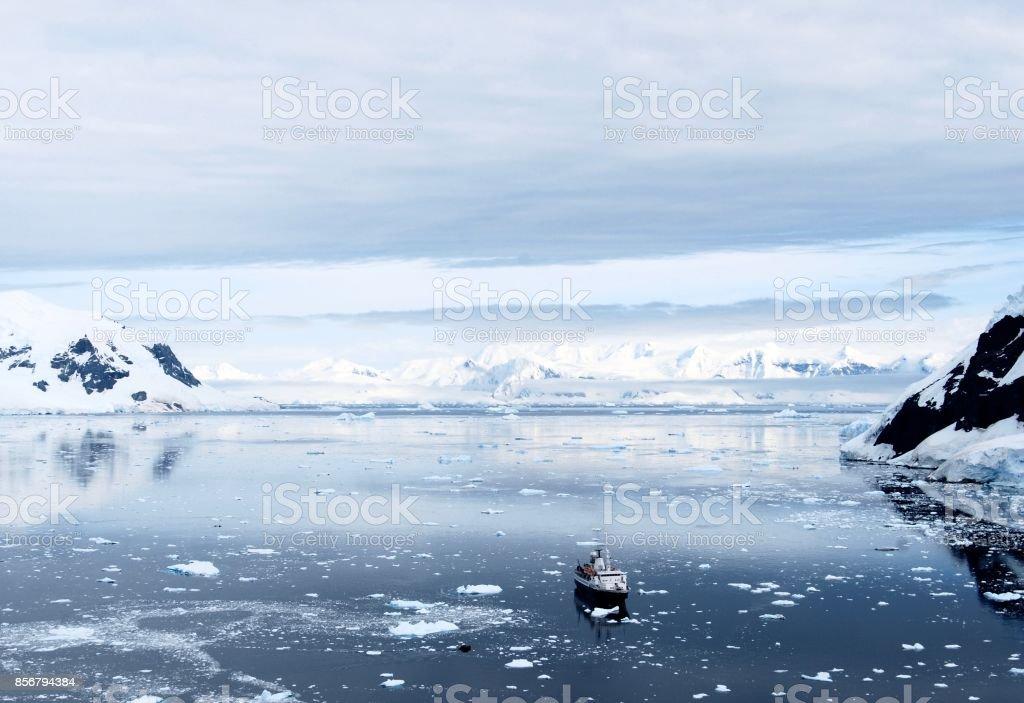 Antarctic Expedition Ship stock photo