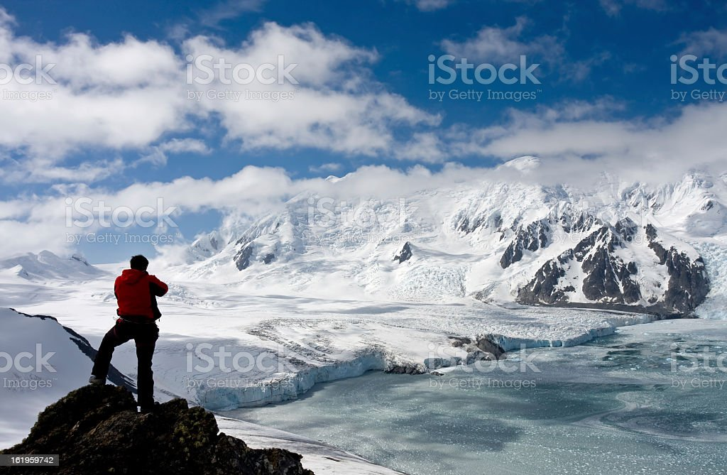 Antarctic explorer staring at new horizonts stock photo