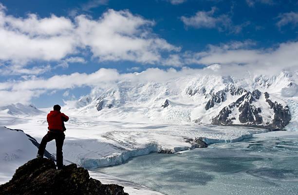 Antarctic explorer staring at new horizonts stock photo