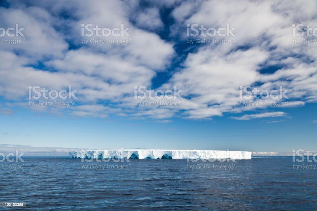 Antarctic Nature Tabular Iceberg Polar Winter Panorama under Blue Sky royalty-free stock photo