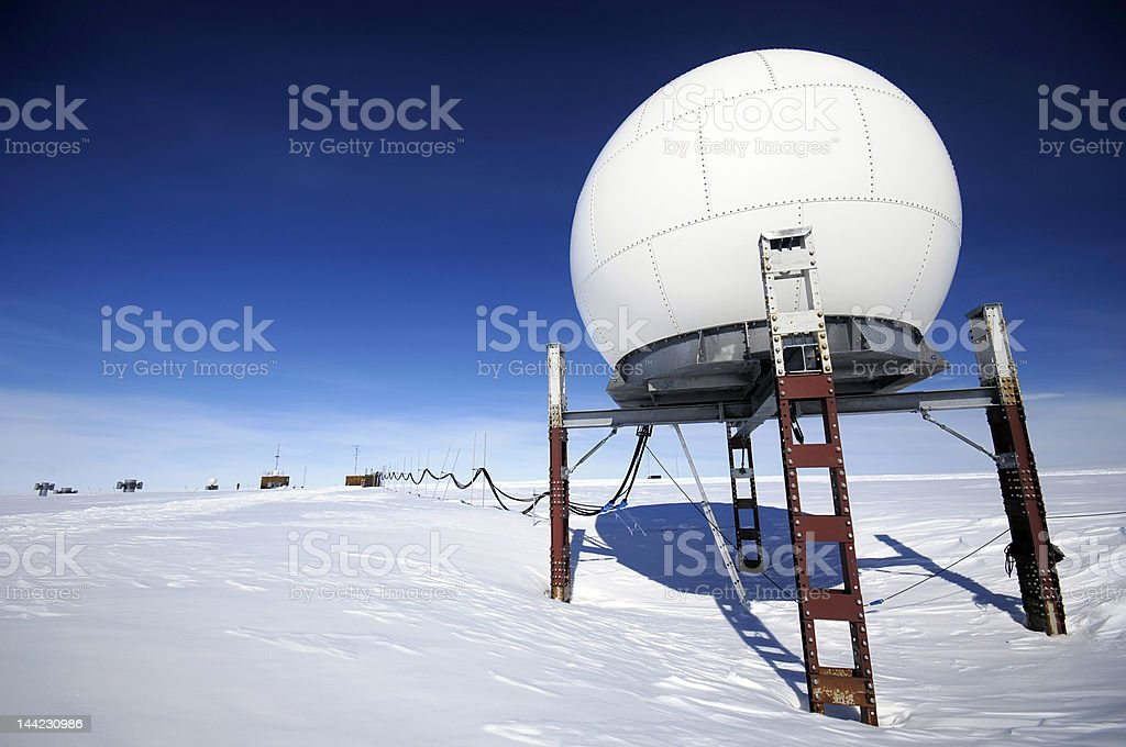 Antarctic research station stock photo
