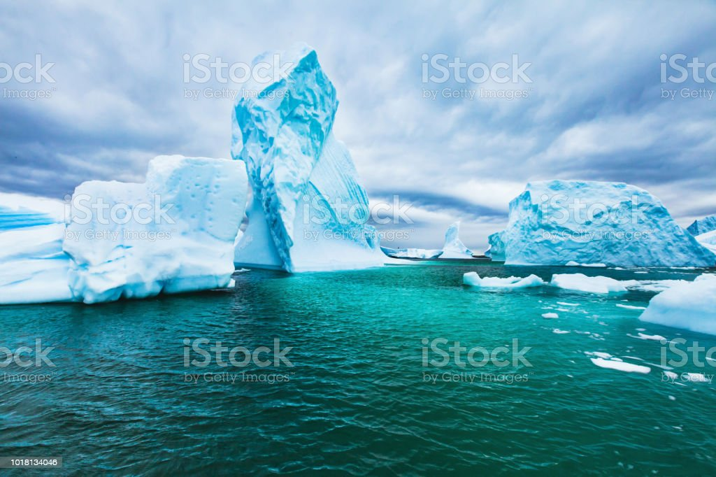 Antarctica beautiful cold landscape with icebergs, epic scenery stock photo