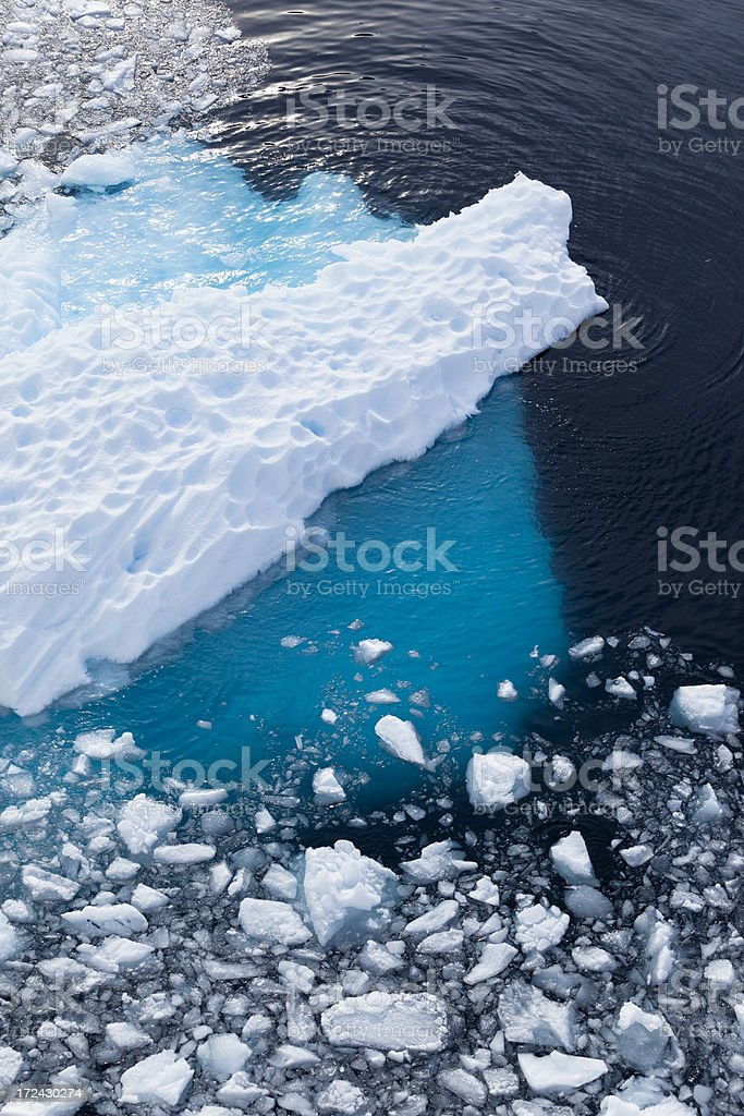 Antarctica blue iceberg floating royalty-free stock photo
