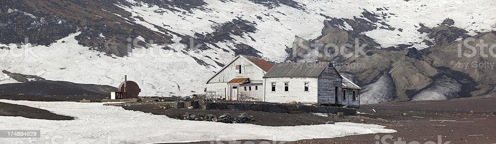 Antarctica Deception Island with old whaling station royalty-free stock photo
