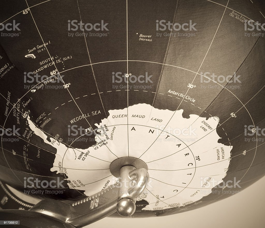 Antarctica On Old Globe royalty-free stock photo