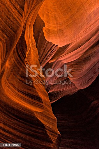 Beautiful texture of natural sandstone in the Lower Antelope Canyon. Page, Arizona, USA
