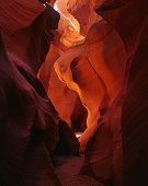 This is one of the most famous spots in the deep slot canyon  of Lower Antelope in Arizona. It is called Eagle Eye.