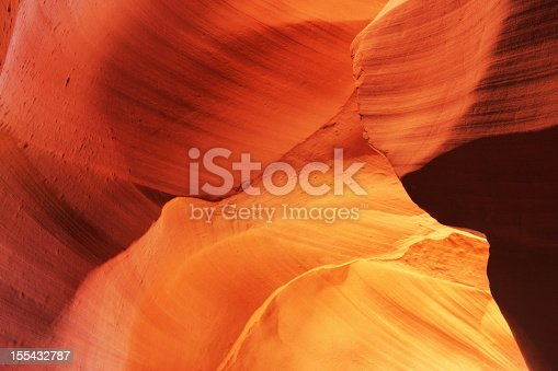Rock strata formations converge in subdued sunlight inside Antelope Canyon creating ethereal natural abstract.  Page, Arizona, 2009.