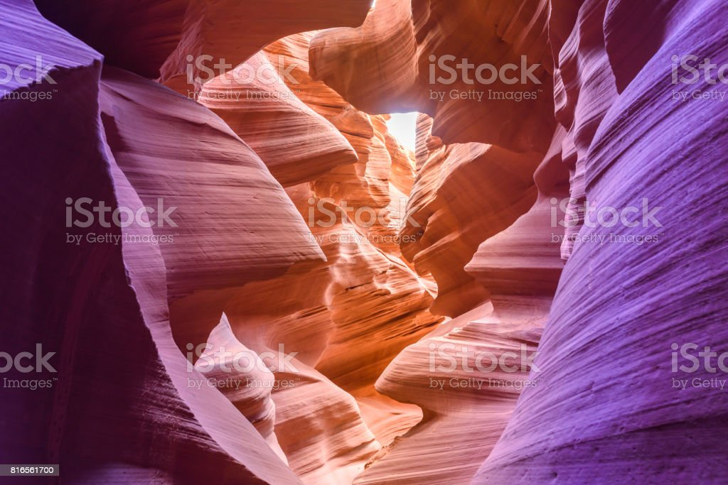 Antelope Canyon - located on Navajo land near Page, Arizona, USA - beautiful colored rock formation in slot canyon stock photo