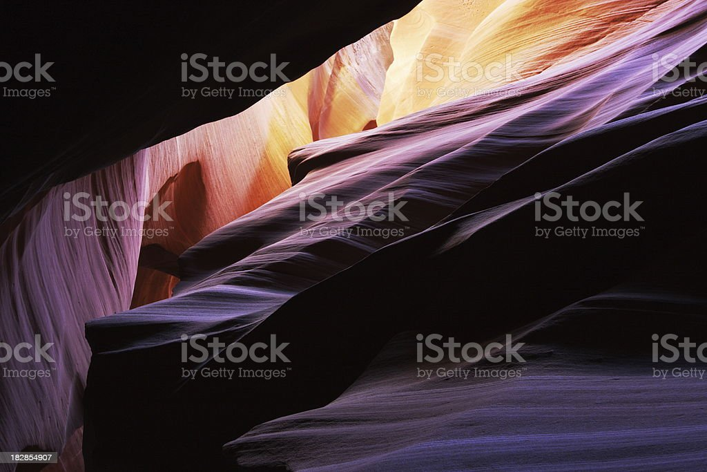 Antelope Canyon Rock Strata Sunbeam stock photo