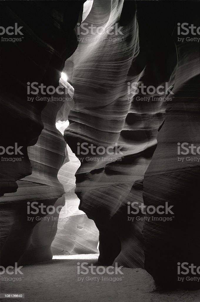 Antelope Canyon Sandstone Walls, Black and White stock photo