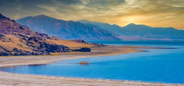 Antelope Island, die größte von zehn Inseln im Great Salt Lake, Antelope Island State Park, Utah, USA – Foto