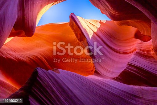 Antelope slot canyon illuminated by sunlight – Page, Arizona – USA