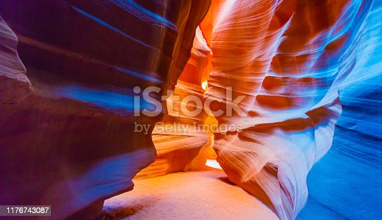 Walking inside the maze of the Antelope Slot Canyon in Arizona, USA.