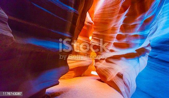 Walking inside the maze of the Antelope Slot Canyon in Arizona, USA.