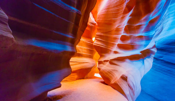 Antelope Slot Canyon Walking inside the maze of the Antelope Slot Canyon in Arizona, USA. page arizona stock pictures, royalty-free photos & images