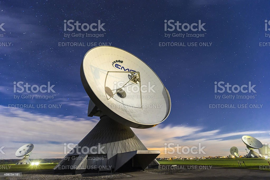 Antenna at night stock photo