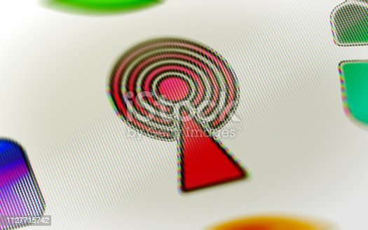 1127716664 istock photo Antenna icon on the screen. 1127715742