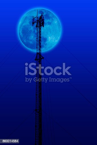 Antenna and cellular tower on blurred fullmoon with gradient color background.
