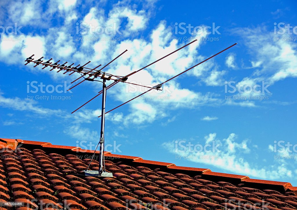 TV Antenna on a Rooftop stock photo