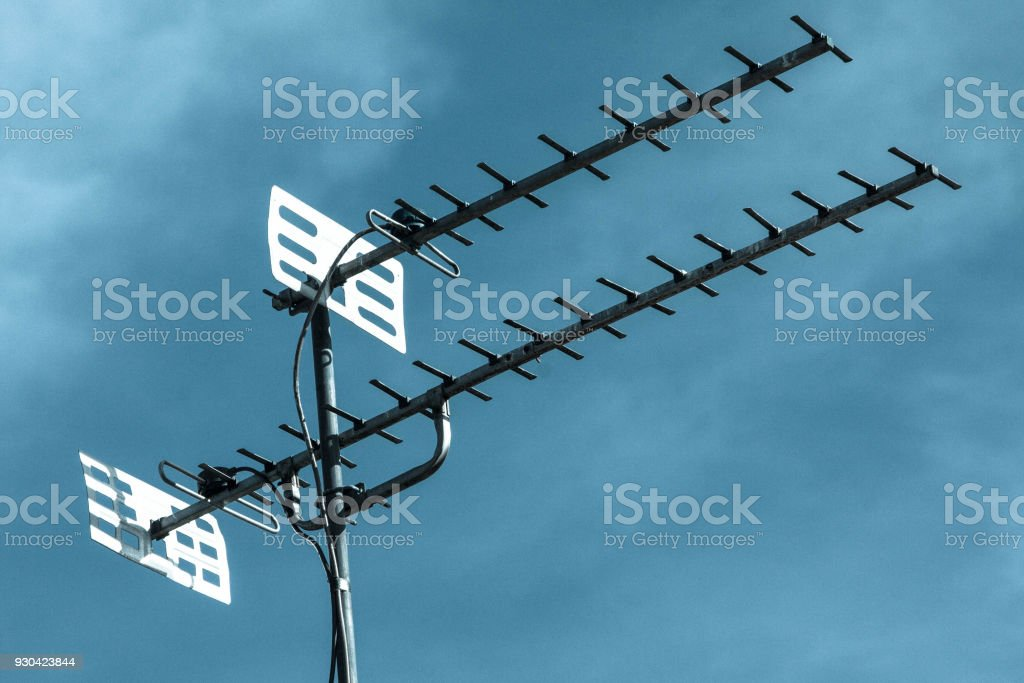Tv Antenna On Blue Sky Stock Photo - Download Image Now