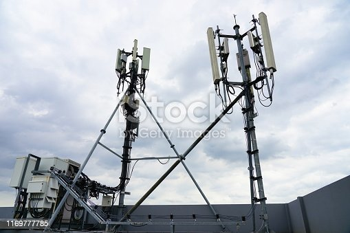 1169777785istockphoto 4G antenna on  the roof 1169777785