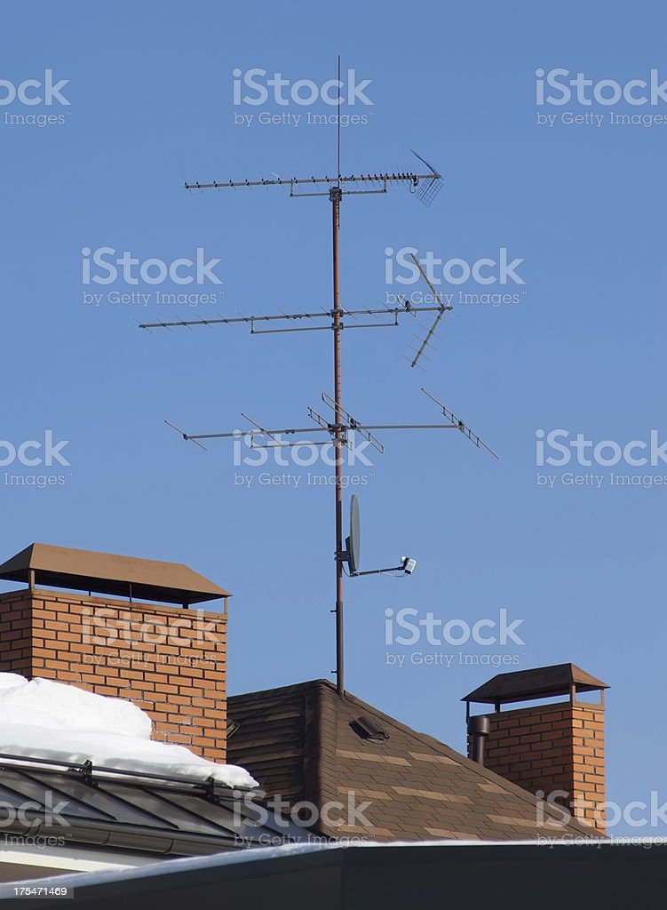 Antenna on the roof stock photo