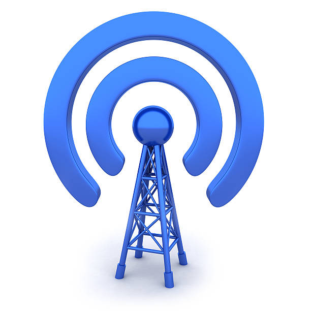 antenna - wave icon stock photos and pictures
