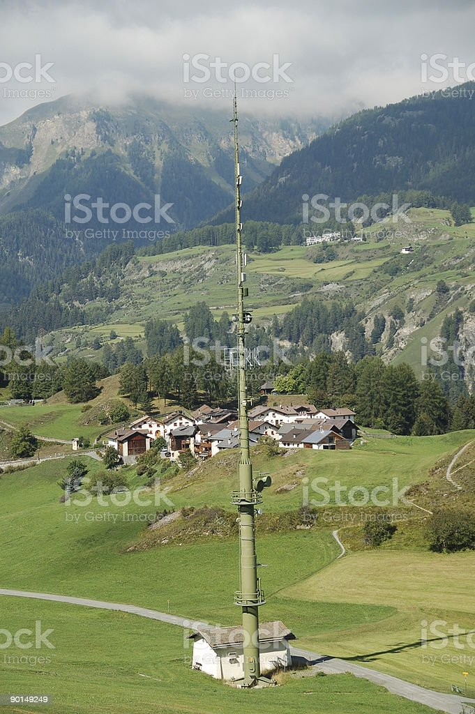 Antenna Pole in the Mountains royalty-free stock photo
