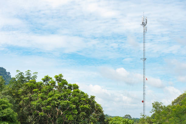 Antenna signal pole stock photo