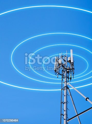 Antenna tower of telecommunication and radio signal for mobile communication with blue sky with radio signal