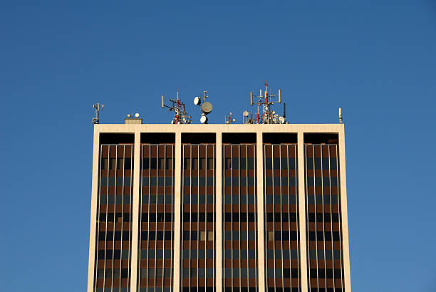 Antennas and Communications Equipment on a High Rise Building stock photo