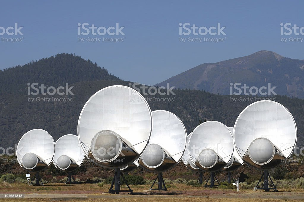 SETI antennas listening for alien broadcasts stock photo