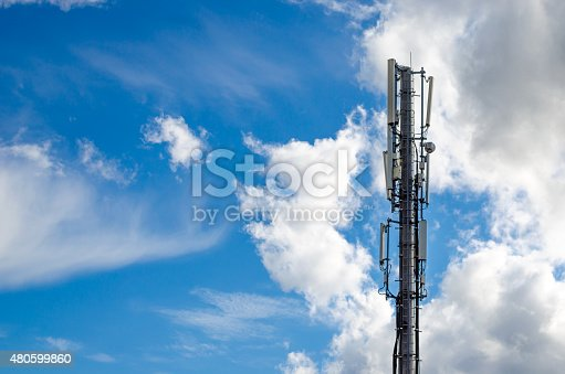 istock Antennas on mobile network tower. Global system for mobile communications. 480599860
