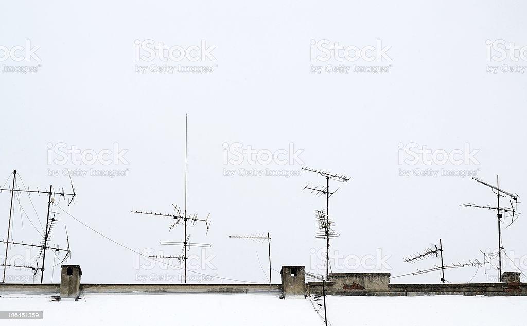 antennas on roof royalty-free stock photo
