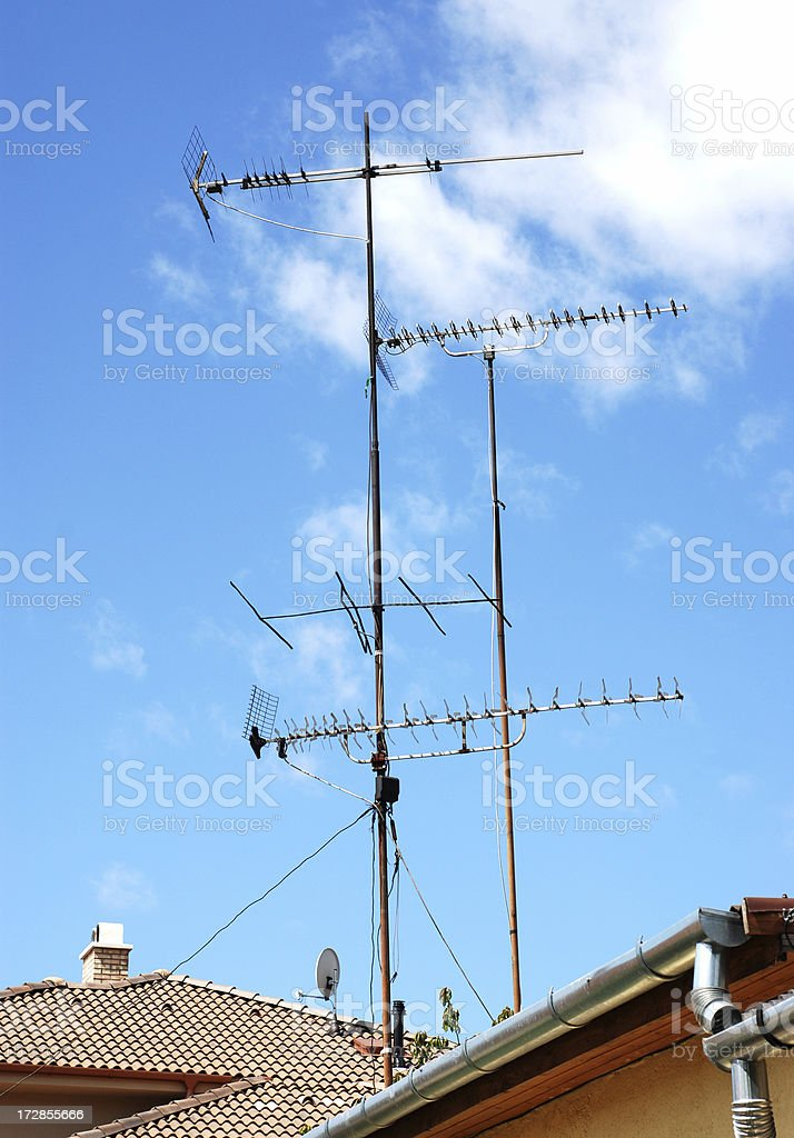 TV antennas on the roof royalty-free stock photo