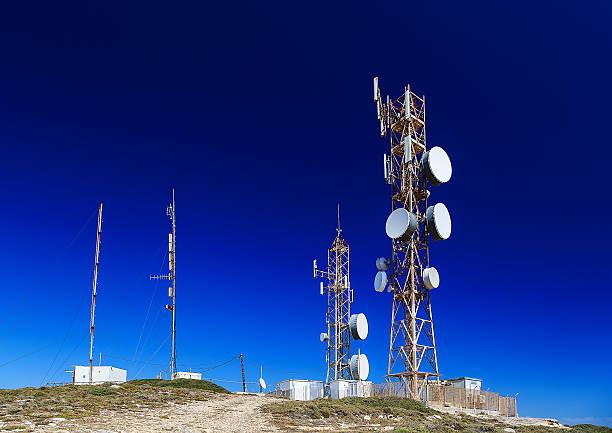 antennas on the top of the mountain stock photo