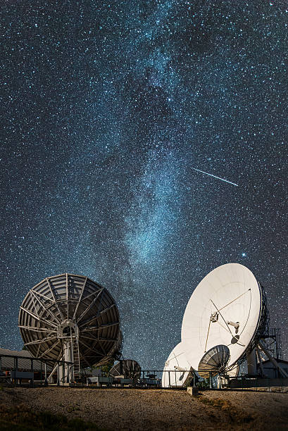 antennas under the milky way - space exploration stock photos and pictures