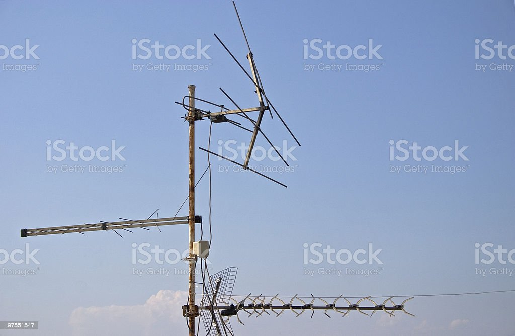 Antennas with blue sky in the background royalty-free stock photo