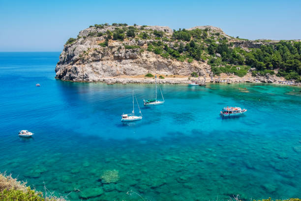 Anthony Quinn Bay. Rhodes, Greece stock photo