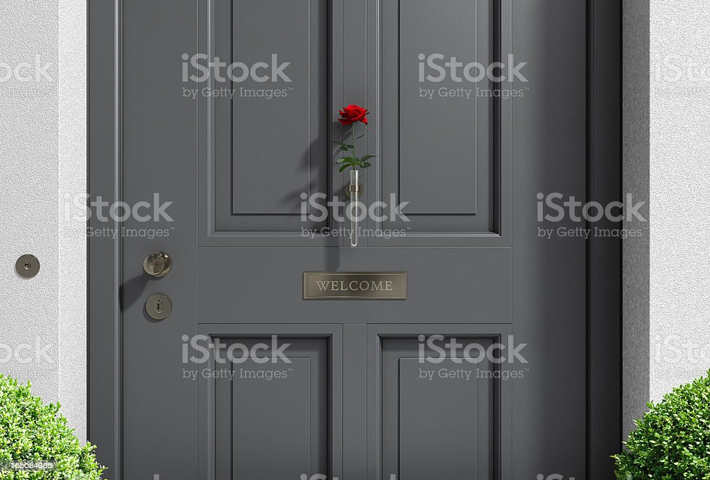 anthracite front door with rose royalty-free stock photo