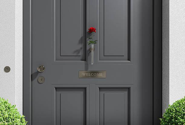 anthracite porta com rose - maçaneta manivela - fotografias e filmes do acervo