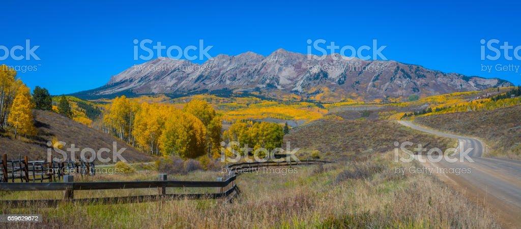 Anthracite Mountain Range from Ohio Pass Road in autumn stock photo