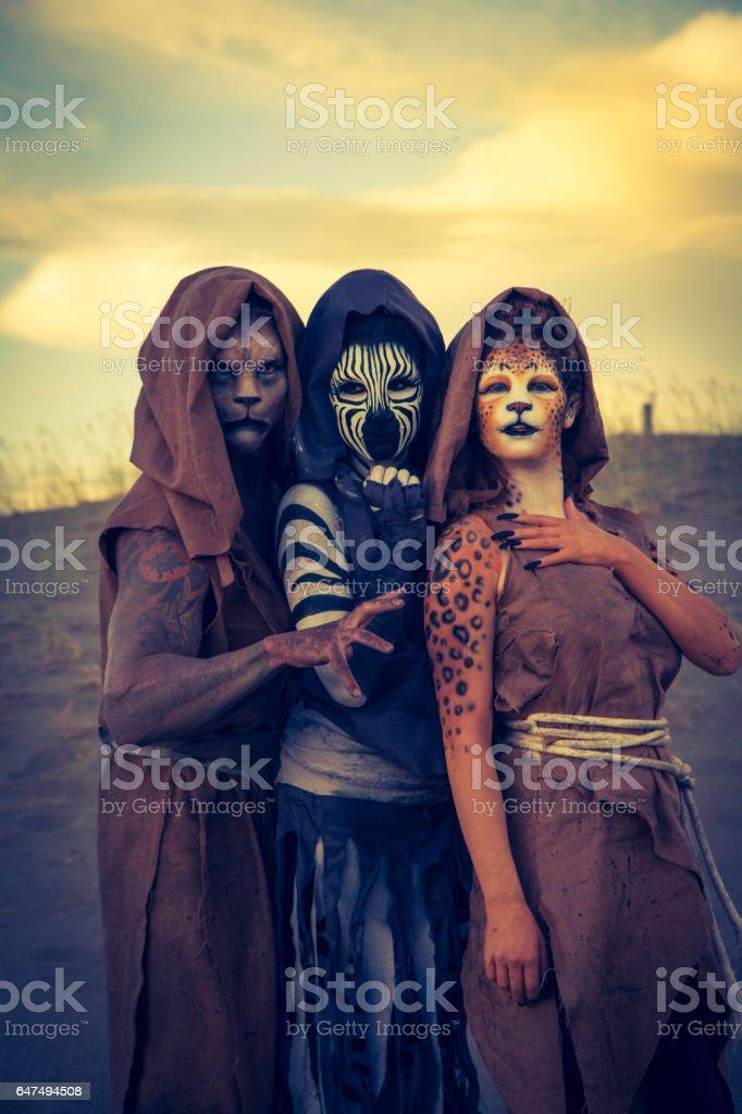 Anthropomorphic Lion and Cheetah Actors In The Desert stock photo