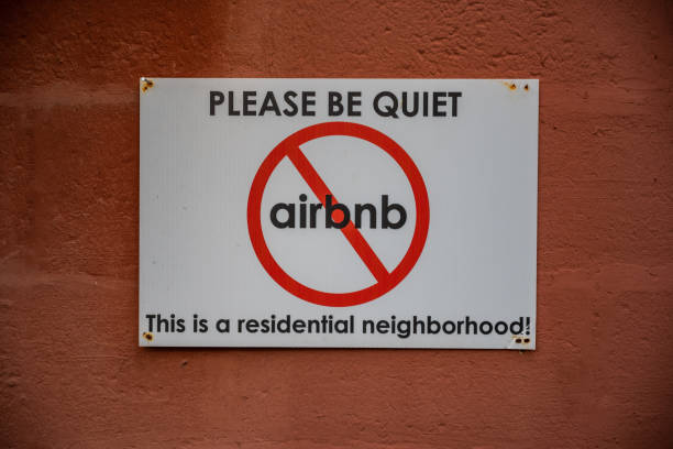 Anti Airbnb Sign stock photo
