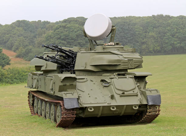 Anti Aircraft Mobile Gun System. A Radar Controlled Anti Aircraft Mobile Gun System. antiaircraft stock pictures, royalty-free photos & images