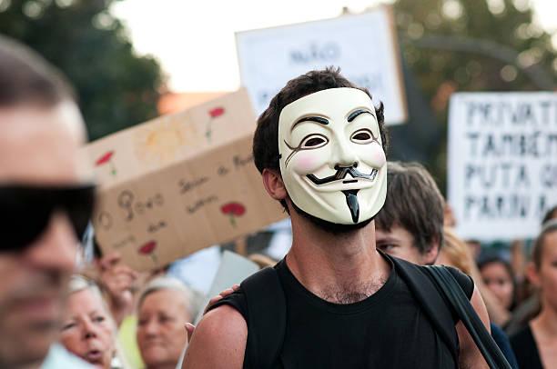 anti austerity protest stock photo