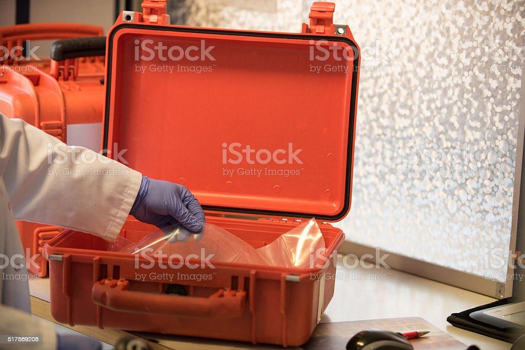Anti cancer drug preparation in the hospital pharmacy stock photo