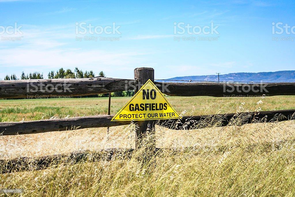 Anti coal seam gas protest signs stock photo